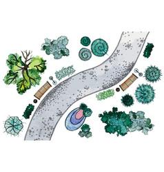 watercolor landscape design elements vector image vector image