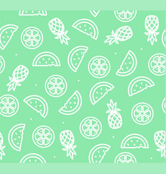 watermelon pineapple and orange tropical fruit vector image vector image
