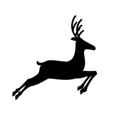 black silhouette of jumping reindeer isolated on vector image