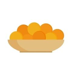 Fresh fruit citrus oranges on plate dinner vitamin vector