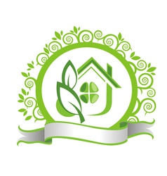 Green house and leaves vector image vector image