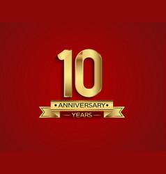 10 years anniversary golden design color vector