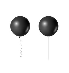 3d realistic black balloon set isolated vector image