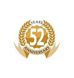 52 years ribbon anniversary vector image