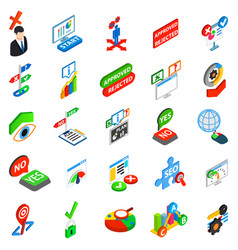 Answer icons set isometric style vector