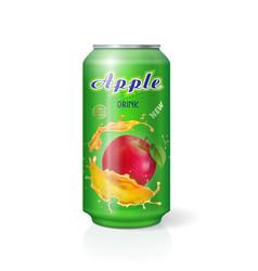 Apple juice in aliminium can realistic vector