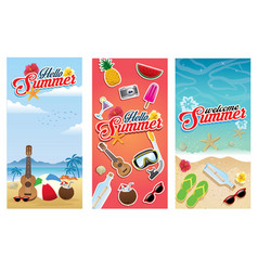 beach summer flyer set collection vector image