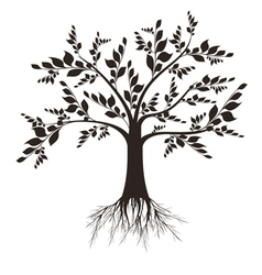 Beautiful art tree silhouette isolated on white ba vector