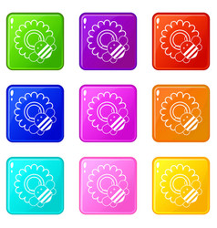 bee on flower icons set 9 color collection vector image