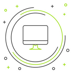 Black and green line computer monitor screen icon vector