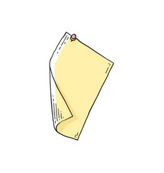 Blank yellow rectangle paper page pinned to wall vector