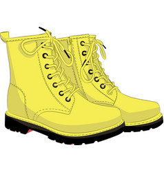 Boots yellow isolated on white vector