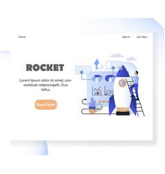 Business rocket website landing page design vector