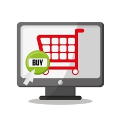 Cart computer and shopping online design vector