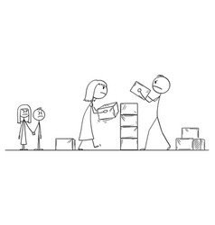 Cartoon angry couple man and woman building vector