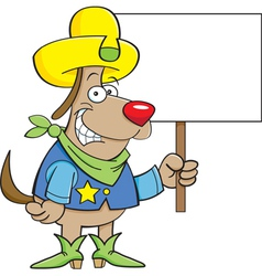 Cartoon cowboy dog holding a sign vector