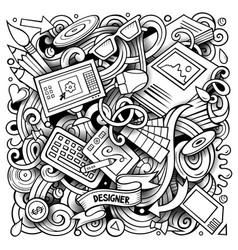 cartoon doodles design vector image