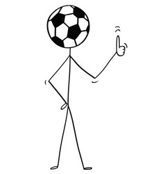 cartoon of stick man character with football or vector image
