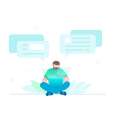 chatting online - flat design style vector image