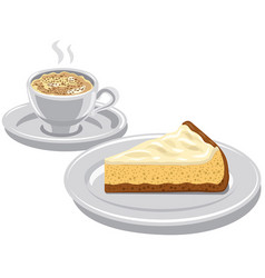 Cheesecake and cappuccino vector