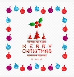 christmas balls frame and typography vector image