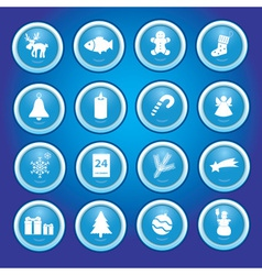 christmas icons in blue circles collection eps10 vector image