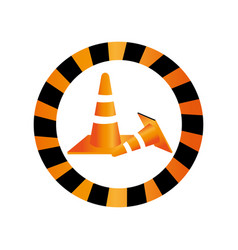 Color circular road sign with traffic cone with vector
