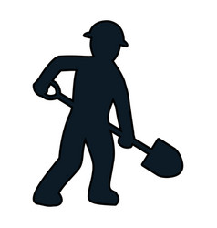 Color pictogram laborer with shovel equipment vector