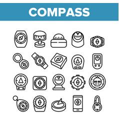 Compass navigational equipment icons set vector