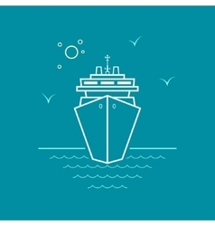 Cruise Ship Line Style Design vector image