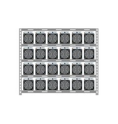 cryptocurrency mining server rack isolated icon vector image