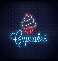 Cupcake neon logo on wall background vector