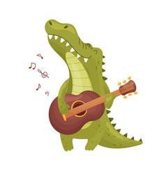 Cute crocodile with a guitar vector