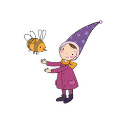 Cute little gnome and a bumblebee isolated vector