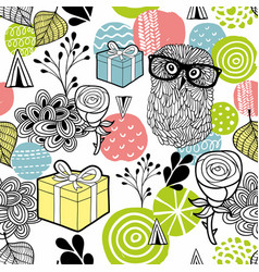 Cute owl and gifts background vector