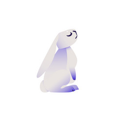 Cute rabbit with ultra violet ears and legs sits vector