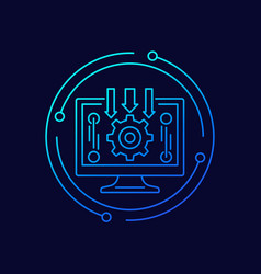 data processing icon with computer line vector image