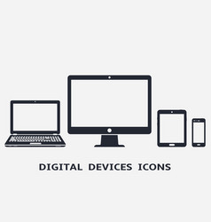 Device icons - desktop computer laptop smart vector