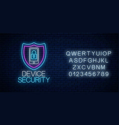 device secure glowing neon sign with alphabet vector image