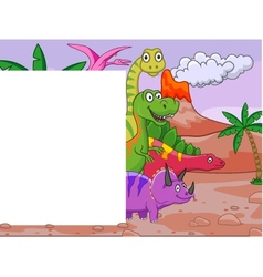 Dinosaur with blank sign vector image