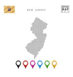 Dots pattern map new jersey stylized vector