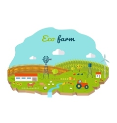 Eco Farm Conceptual in Flat Style Design vector