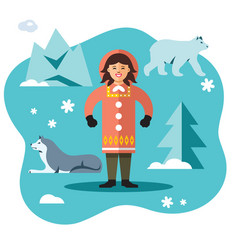 eskimo flat style colorful cartoon vector image