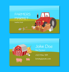 Farmers market and agriculture business card vector