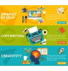 Flat concept banners Graphic Design Copywriting vector