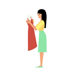 flat happy girl shopping new dress vector image