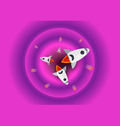 Flat scene of space with stars in pink and purple vector