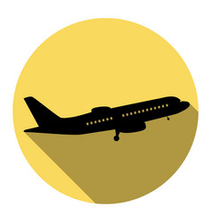 flying plane sign side view flat black vector image