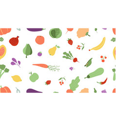 fresh food seamless pattern vegetables fruits vector image