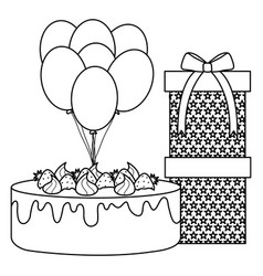 Gift box with sweet cake and balloons helium vector